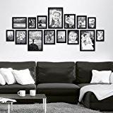 Lot de 15 cadres Photolini Collection Basique Moderne Noir en MDF comprenant accessoires / collage de photos / galerie d'images ...