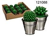Lot de 2bougies Cactus dans pot en métal