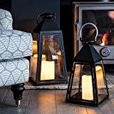 Lot de 2 Lanternes Trapèzes Gris Charbon avec Bougies LED à Piles et Anses en Métal par Lights4fun