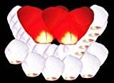 Lot de 22 Lanternes Blanches dont 2 Coeurs chinoise celestes volantes biodégradable pour fêtes , moments romantiques et magiques
