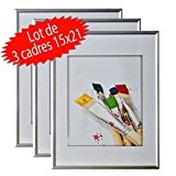 Lot de 3 cadres photo 15x21 cm (Silver)