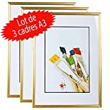 Lot de 3 cadres photo A3 (Gold)
