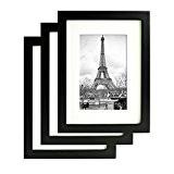 Lot de 3 Cadres photos - Cadre Photo 10x15cm - Bois de Pin MASSIF - Passe-Partout pour Photos 9x13cm inclus ...