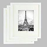 Lot de 3 Cadres photos - Cadre Photo 25x30cm - Bois de Pin MASSIF - Passe-Partout pour Photos 15x20cm inclus ...