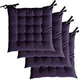 Lot de 4 Galettes de chaise à assise matelassée - Unies - 40x40x5cm - Violet