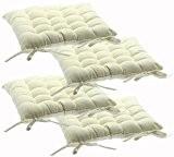 Lot de 4 Galettes de chaises avec attaches - 38 x 38 cm - Matelassées et 100% Coton - Coloris ...
