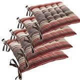 Lot de 4 Galettes de chaises avec attaches - 40 x 40 cm - Matelassées et 100% Coton - Coloris ...