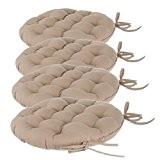 Lot de 4 galettes de chaises rondes avec attaches - Diamètre 40 cm -Matelassées & 100 % coton - Coloris ...