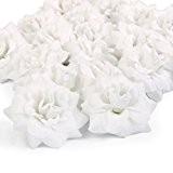 Lot de 50 Rose Artificielle Tête de Fleur Corolle Décoration de Mariage Artisanat - Blanc