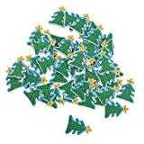 Lot de 50pcs Pendentif Décoration Suspendue Arbre de Noël en Bois pour Sapin de Noël
