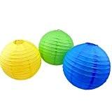 lot de 6 lanterne boule papier chinois japonais bleu jaune vert pour décoration (20 cm)