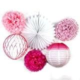 Lot de 6 Série Rose Fuchsia Blanc Fleur Pompon de Papier Boule Alvéolé Rosace et Lanterne pour Decoration Mariage Saint ...