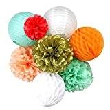 Lot de Boules Alvéolée Lampion Lanterne Pompon Papier pour Décoration de Mariage Baptème Anniversaire
