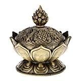 Lotus Fumée D'encens Cône Brûleur Arôme Support Poêle Disconnecteur Encensoir - Bronze