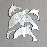 Love gravé dauphin image murale de salle de bain Miroir Ventilateur