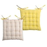 Lovely Casa CU1490113GAL Duo Galette 16 PTS Coton Lin/Jaune 16 x 40 x 40 cm