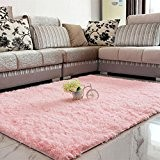 LQZ(TM)Tapis Shaggy Anti-patinage Longues Mèches Rose Dimension:120x80 cm