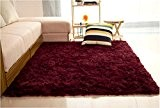 LQZ(TM) Tapis Shaggy Poils Longues Mèches Anti-dérapant Salon Dimension:120x80 cm (Vin Rouge)