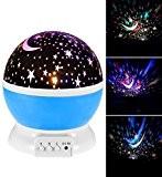 Lumière de nuit de bébé Projecteur d'étoile de lune Rotation de 360 degrés 4 ampoules de LED 9 Couleur de ...