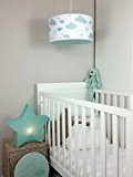 Luminaire enfant/lampe de plafond/Suspension Blanc avec Nuages Vert Menthe