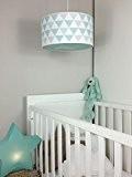 Luminaire enfant/lampe de plafond/Suspension Blanc avec Triangle Vert Menthe/Gris Taupe