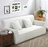 LY&HYL All-Season Jacquard en tricot Sofa Stretch Slipcover Sofa wrap tout-inclus résistant au glissement Housse de canapé blanc élastique Single ...