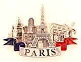 magnet aimant de frigo cuisine souvenir de France Paris métal cadeaux G179 (Argenté)