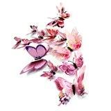 Malloom® 12x 3d Papillon Chambre Sticker Mural D'aimant De Réfrigérateur Décor Autocollant Appliqué (Rose)