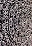 Mandala éléphant indien Tapisserie, Hippie tapisseries, Tapisserie Décoration Bohème Tapisserie mur indien de suspension, noir et blanc, ou Résidence Mandala ...
