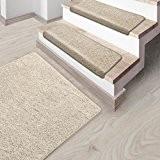 Marchettes escalier casa pura® crème | polypropylène, doux | env. 23x65cm | 2 formes - 5 couleurs | Lot de ...