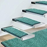 Marchettes escalier casa pura® turquoise | polypropylène, doux | env. 23x65cm | 2 formes - 8 nouvelles couleurs | Lot ...