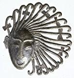 Masque africain, fait main en acier recyclé fût d'huile métallique, Haïti art et d'artisanat, 26cm