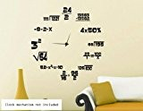Maths Geeks Clock Background Wall Sticker (Large: 100cm x 100cm / 39 x 39) by Broomsticker