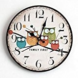 MCC Owl Round Wall Clock Creative Fashion Pastoral Stained Horloge en bois , b