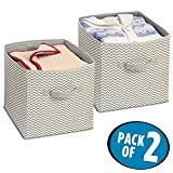 mdesign Chevron Armoire Cube de rangement en plastique pour les jouets, Pull, Accessoires–2pièces taupe/naturel