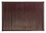 mDesign grand tapis de bain en bois – paillasson pour salle de bain fait de bambou sombre – tapis de ...