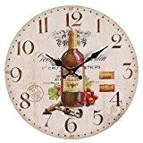 Méditerranéen Horloge murale avec Vin rouge Motif, Maison de campagne Horloge de cuisine, Pubs bistrots Montre