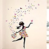 Meihuida Magic Fairy Dancing In Flower Release Butterfly Wall Sticker For Girls' Decoration by Meihuida