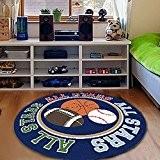 memorecool Cartoon basket-ball Tapis rond, Rugby moderne, Kids Tapis lavable, Tapis de jeu/enfant 99,1x 99,1cm