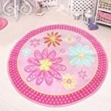 memorecool Jeu Rose Vif Filles Princesse Chambre tapis pour enfant/Enfant Sweet Rose Tapis Tapis de jeu en nylon rond 99,1cm