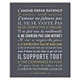 Mes Mots Déco CV-STP-6F-003 L'Amour Prend Patience Saint Paul aux Corinthiens Tableau Toile Ardoise/Or 33 x 2 x 41 cm