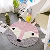 MicBridal® tapis chambre adoreble 100%coton en tricot maunel tapis enfant tapis animal pour adulte (renard)