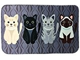 Mignon Chat Pattern Tapis Deco Rectangle Flanelle, 50*80CM, Noir
