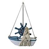 Mini Voilier Bateau en Bois avec Décor Filet de Pêche Ornement Nautique de Table pour Maison Boutique - Voilier Gouvernail