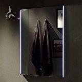 Miroir de salle de bain éclairage LED, Heilbronn 60x 80cm, Miroir de salle Rails de lumière avec interrupteur tactile latérales, ...