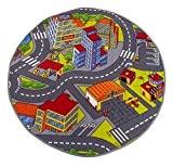 Misento 293305 Tapis de jeu pour enfant Motif rues Modèle rond 100 cm