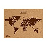 Miss Wood Woody Map Carte du monde en liège avec inscription My World Marron Format L
