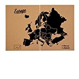 Miss Wood Woody Map XXL – Carte du monde en liège avec Motif Europe, couleur noir