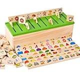 MMRM Montessori Éducation Jeu en Bois Reconnaissance Jouet Bébé Enfants Apprentissage Boîte de Classification Math Jouets
