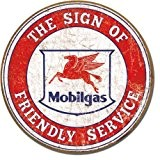 Mobil Gasoline Friendly Service Plaque métal plat Nouveau 30x30cm VS4321